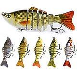 5 señuelos de pesca, aparejos de pesca de lucio, señuelos de lubina, cebos de pesca 3D, 7 segmentos/6 # anzuelos de pesca/10 Cm/15 G, aparejo duro de hundimiento artificial para Walleye amarillo