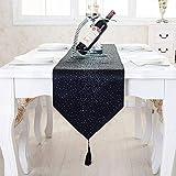 Tenrany Home Samt Diamanten Tischläufer mit Wandteppich, Modernen Stilvolle Atmosphäre Tischdecke Tuch mit Quasten für Hochzeit Xmas Couchtisch Party (Schwarz, 13.0 x 95 inches)