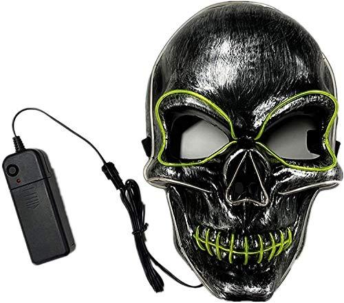Cozywind Halloween LED Mask,The Purge Mask LED-3 modalità Luminose, Festa di Carnevale, Decorazione di Costumi Cosplay (Blu Verde)