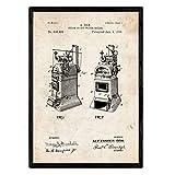 Nacnic Poster con patente de Hervidor de agua. Lámina con diseño de patente...