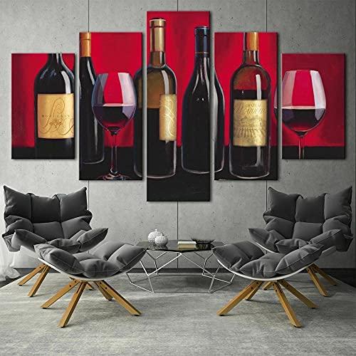 QQWW Cuadro Moderno En Lienzo,5 Piezas XXL Bodega de colección de Vino Tinto HD Abstracta Pared Imágenes Modulares Sala De Estar Dormitorios Decoración para El Hogar