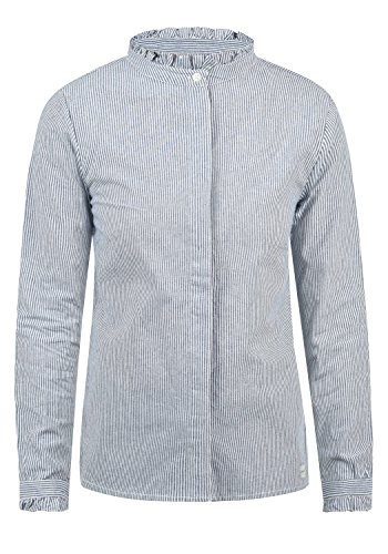 BlendShe Stella Damen Lange Bluse Hemdbluse Langarm Mit Stehkragen Und Streifen-Muster Aus 100% Baumwolle Loose Fit, Größe:M, Farbe:Mood Indigo Stripe (20064)
