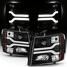 For GMT900 Chevy Silverado Pickup Truck Dual LED Tube DRL Black Projector Headlights Pairs Lamps