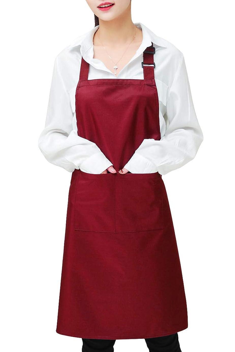 カバー固める雇うINKARO シンプルエプロン 首掛け 調整可能 防水 シワになりにくい 汚れにくい 仕事用?料理室 家庭用 男女兼用 (レッド)