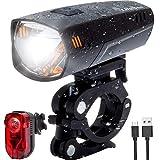 LIFEBEE LED Fahrradlicht Set, Wiederaufladbares USB Fahrradbeleuchtung IPX5 wasserdichte Fahrradlampe mit 2 Licht Modi und Erinnerungsladefunktion, für Licht Mountainbike & Fahrrad