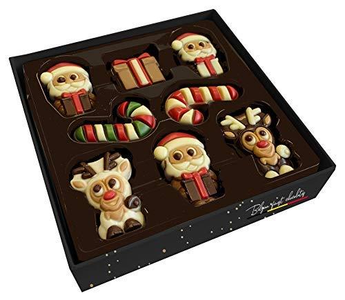 Delice 8 Weihnachtsfiguren Verschiedene Motive in dunkler, milchiger und weißer Schokolade in Geschenkbox - 1 x 135 Gramm