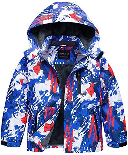 Boys' Waterproof Breathable Outdoor Warm Snowboard Ski Jacket Dark Blue 10/12