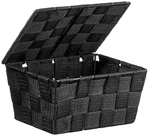 WENKO Cestino con coperchio Adria nero - cestino per il bagno, Polipropilene, 19 x 10 x 14 cm, Nero
