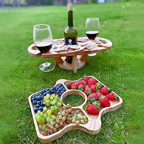 Fkxczn Mesa de Picnic Plegable de Madera con Soporte para Copas de Vino - Estante portátil Creativo 2 en 1 para Copas de Vino y Plato con Compartimentos Utilizado para Fiestas (Agujero Medio 3.35in)