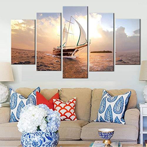GJXYED geen lijst canvas decoratie schilderij handgemaakt doe-het-zelf muurkunst canvas HD-print schilderij 5 stuks zeilboot Sunshine poster modern seascape zeilboot afbeelding huis decoratie canvas hd gedrukt 5-delig 150*100CM