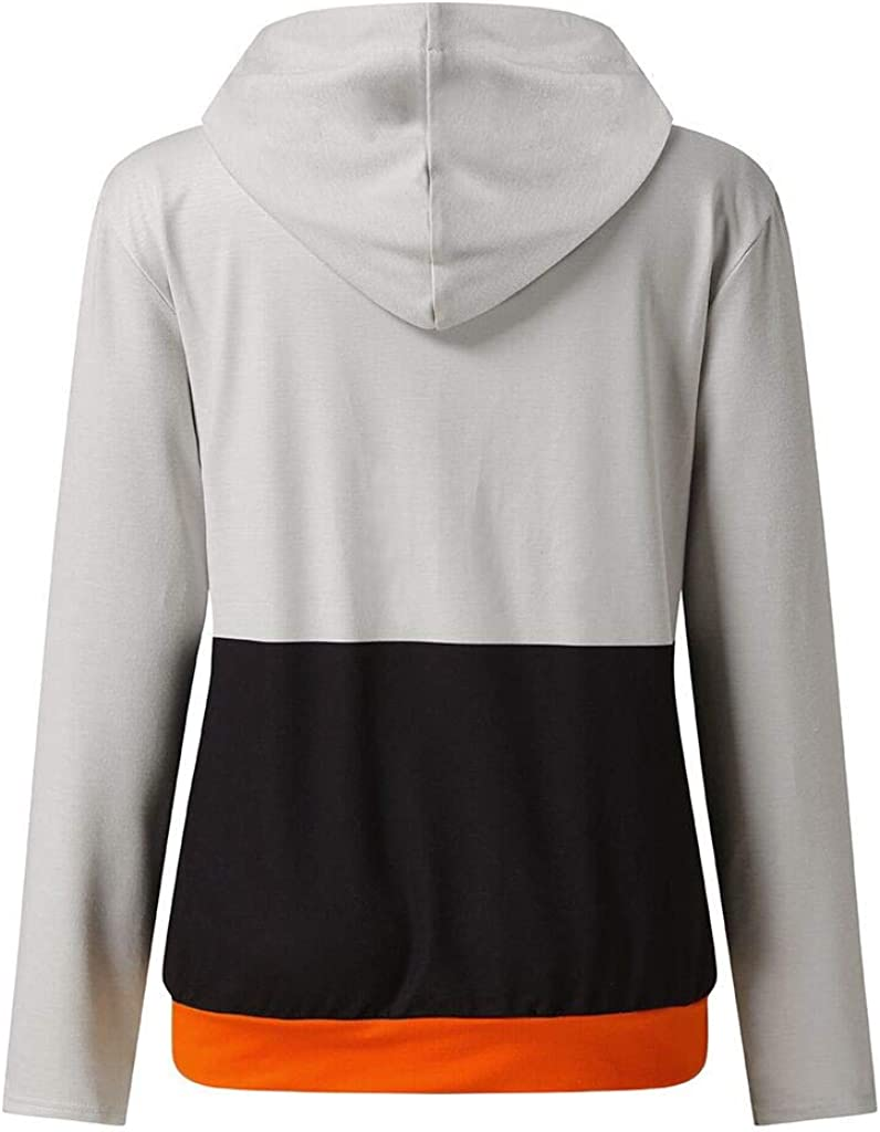 nunonette Pullover Hoodies for Teens?Womens Halloween Sweater Drawstring Funny Print Long Sleeve Casual Hooded Sweatshirt Top