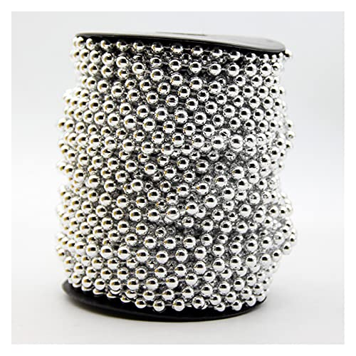 MURUI QZX1 5meter 6mm imitación Perlas Perlas Oro Plata joyería Redonda artesanía Coja línea Cadena Colgante para la decoración de la Fiesta de Bodas de Bricolaje Yc0416 (Color : Silver)