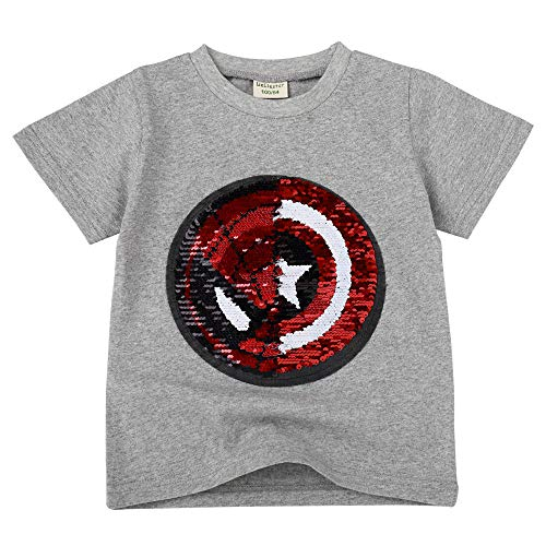 Niño niña Camiseta con Lentejuelas Camiseta mágica de Lentejuelas de Manga Corta (140, C)