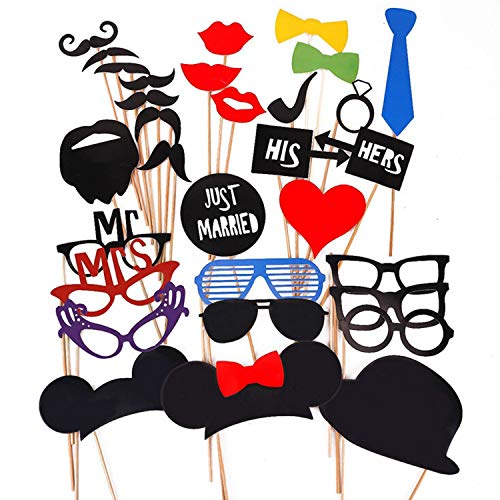 31PCS New Funny Photo Booth Props On A Stick Mustache Lip Hat DIY Kit Dress-up Accessories Perfect for Party Fun Wedding Reunions Birthday Christmas Favor Photobooth Party Decoration Supplies