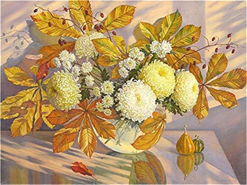 HU0QWPKU olieverfschilderij Chrysantheme vaas digitale olieverfschilderij romantische mooie DIY olieverfschilderij afbeelding huis wanddecoratie kunst geschenk canvas kinderen 30 cm x 40 cm.