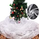 2 Pieces Glittering Organza Fabric DIY Sheer Curtain Panel White Soft Sheer Panels Voile Decoration for Christmas Tree Birthday Baby Shower Graduation Wedding Anniversary Picnic Friend Family Party