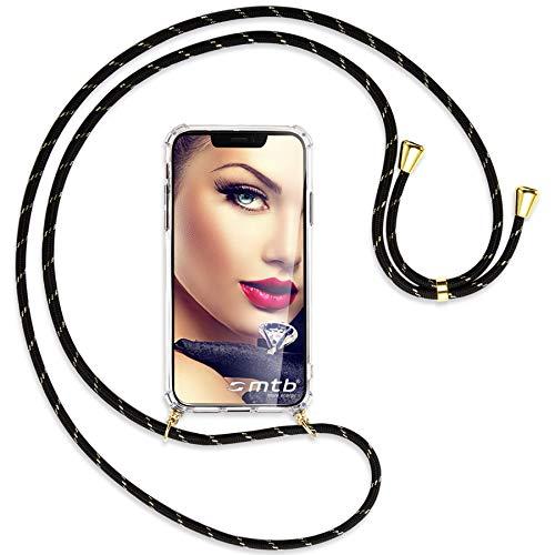 mtb more energy® Handykette kompatibel mit Sony Xperia L2, L2 Dual SIM (5.5'') - Schwarz+Gold gestreift/Gold - Smartphone Hülle zum Umhängen - Anti Shock Full TPU Hülle