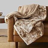 Amazon Basics Fuzzy Faux Fur Sherpa Blanket, Full/Queen, 90'x92' - Tan Tie Dye