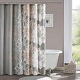 Madison Park 100% Cotton, Casual Large Floral Design Bathroom Shower Curtain, 72x72, Blush
