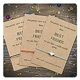 Tarsus Best Friend Gifts BFF Bestfriend 3 Friendship Heart Charm Bracelet Set for Women Sibling Girls, Silver