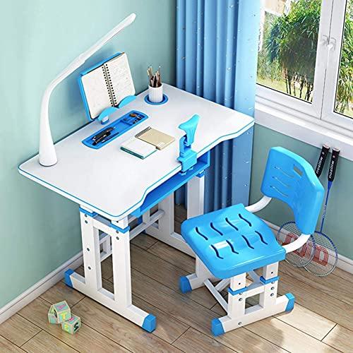 escritorio de pared, Mesa de estudio ajustable para niños y silla de silla para niños, diseño de estudio de la escuela de origen ergonómico, escritorio de inclinación con tablero de lectura y una orte