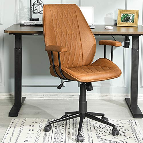 DICTAC Home Office Chair Leather Computer Chair Ergonomic Task Chair Mid Back Swivel Home Office Chair Adjustable Racing Chair Armrest for Executive or Home Office Brown Capacity 400lb