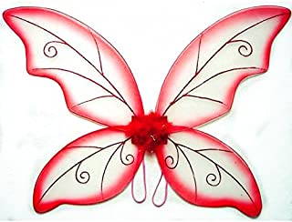 Cutie Collection Costume Fairy Wings - Large (34in) Pixie Princess Dress up Wings By (Adult, Black) (RED)