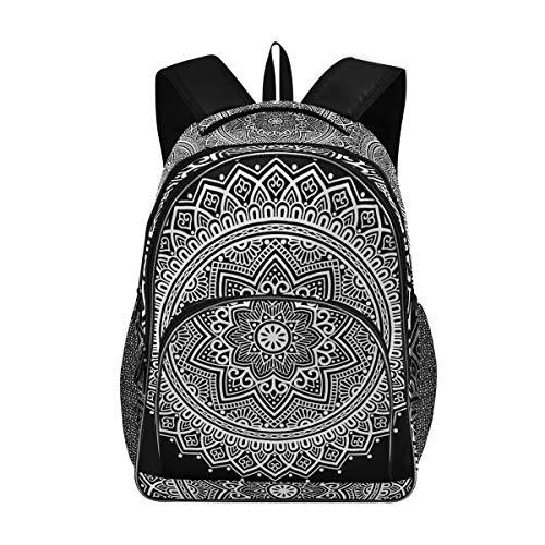 Irud Shcool Rucksack, Mandala-Muster, weiß, Gute Laune, langlebige Tasche, Arbeitstasche, leicht, Laptoptasche, wasserabweisend, Schulrucksack, Geschenke für Männer und Frauen