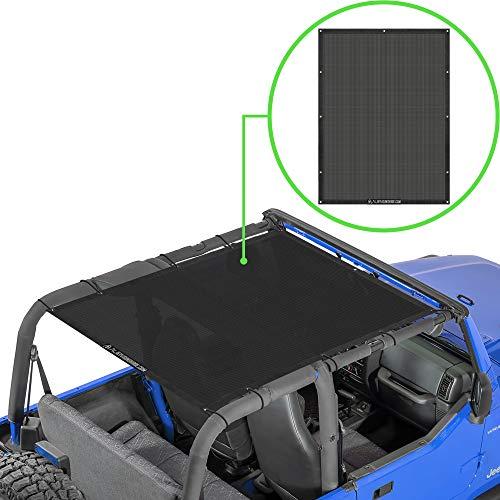 Alien Sunshade Jeep Wrangler YJ (1987-1995) & Jeep Wrangler TJ (1996-2006) - Full Length Mesh Sun Shade for TJ & YJ 2 Door - Blocks UV, Wind, Noise – Jeep Bikini Top Cover for TJ & YJ (Black)