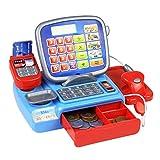 Caja registradora con un peso de escáner de reproducción Escala electrónica del juguete educativo de múltiples funciones del juguete para el cabrito calculadora real Juguetes