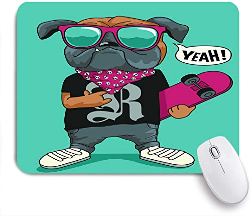 Marutuki Gaming Mouse Pad Rutschfeste Gummibasis,Skateboarder Hund Design,für Computer Laptop Office Desk,240 x 200mm