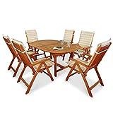 indoba Designer Gartenmöbel Set 13-teilig Gartenset inkl, Auflagen Tisch (Ausziehbar) Gartenstühle (verstellbar) Garten Set