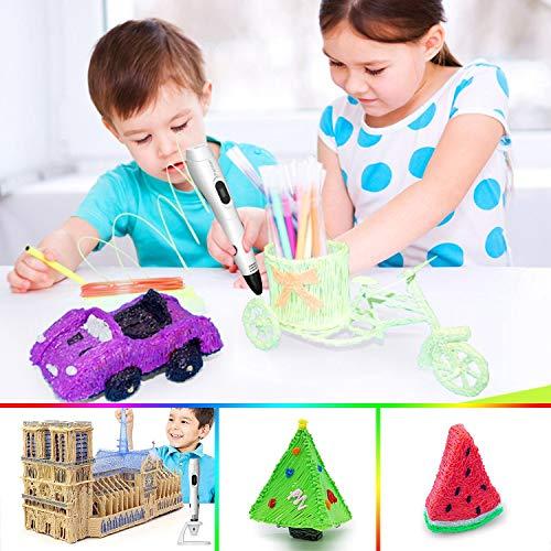 3d stifte, Parner 3D Stift mit 12 Verschiedenen PLA Farb Ersatzminen, 3D Pen für Kinder Sicher und Einfach zu Benutzen, 3D Stifte Set für Jung und Alt - 8
