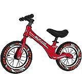 Bueuwe Bicicleta De Equilibrio De 12'para 2 3 4 5 6 AñOs Ligera Sin Pedales Bicicleta para Caminar para NiñOs PequeñOs con Manillar/Asiento Ajustable Y Marco De AleacióN De Magnesio,D Red