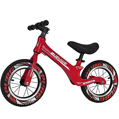 Bueuwe Bicicletta Senza Pedali Bici Senza Pedali da Passeggio Leggera Senza Pedali per Bambini con Manubrio/Sella Regolabile E Telaio in Lega di Magnesio,Rosso,12 inch