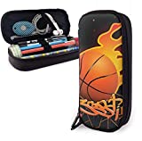 Estuche Lápices Basketball Cute Pen Pencil Case Leather 8 X 3.5 X 1.5 Inch Pouch Bag Pencil Case with Double Zipper Holder Box for School Office Girls Boys Adults