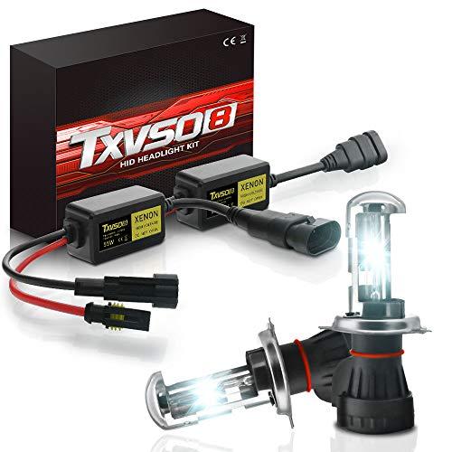 TXVSO Neueste Mini 12 V 55 W Xenon HID Conversion Kit Scheinwerfer für Auto Fahrzeug Ersatz Halogenlampe Set, H4 (9003 Hi/Low) 6000K Diamant Weiß