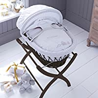 Izziwotnot Humphrey's Corner Sketchbook Baby Girl Wicker Moses Basket, Dark