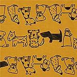 Senfgelber Stoff mit Hunden von Stof Fabrics