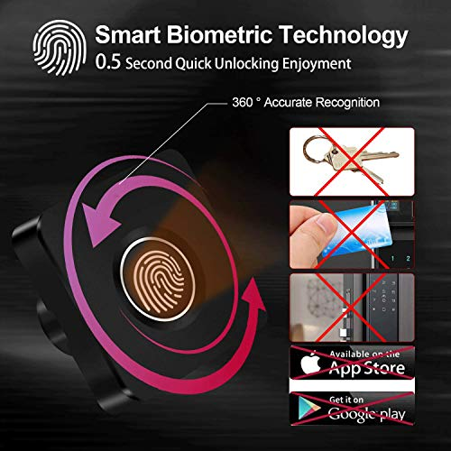 Biometric Fingerprint Lock, Smart Electronic Cabinet Lock Kit Set, USB Rechargeable Keyless File Cabinet Locks Hidden Safe Replacement for Home &Office Furniture Drawer Lock Cabinet Wardrobe (Black)