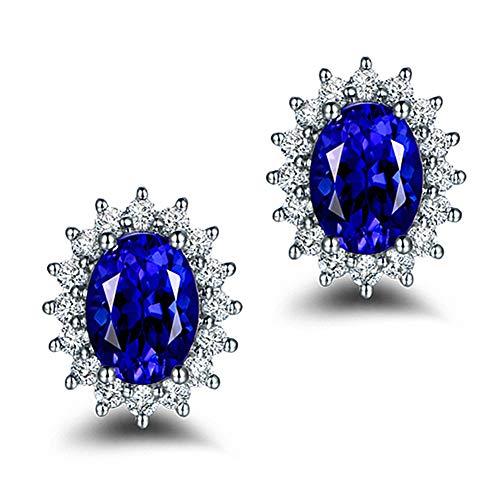 Cestbon Natural Peridot Amatista Topaz Creado Zafiro Esmeralda Rubí Pendientes de Piedras Preciosas 925,Azul