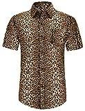 PEGENO Men's Cotton Button Down Short Sleeve Hawaiian Shirt Leopard Print Yellow-2XL