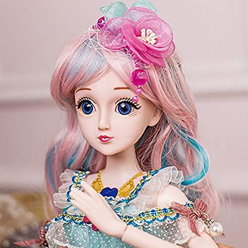 ZNDDB Reborn Baby Puppe 60cm 23,6-Zoll-Kugelgelenkpuppe + Gesicht Make-up + Kleid + Kopfbedeckung + komplette Schuhe