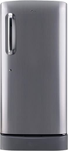 LG 190 L 5 Star Inverter Direct-Cool Single Door Refrigerator (GL-D201APZZ, Shiny Steel, Base stand with drawer) 1