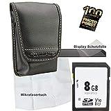 1A Photo PORST Set para Sony DSC-WX200, DSC-WX220, DSC-W320: Caja de la cámara antiestática + película Protectora de Pantalla + Tarjeta SD de 8 GB + Tela de Microfibra