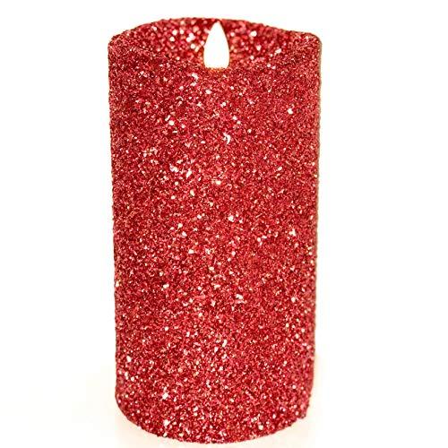 Luminara Vintage Red Glitter 5' Flameless Pillar Candles w/Remote