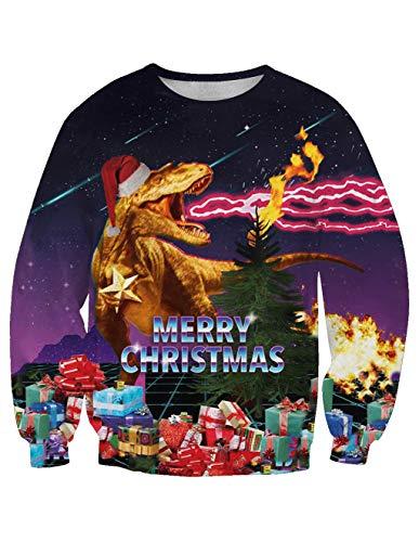 Siennaa Weihnachten Pullover Unisex, Herren Damen Weihnachtspulli Dinosaurier 3D Druck Christmas Sweatshirt Ugly Weihnachtspullover Xmas Pulli Elch Kapuzenpulli Hoodie Kapuzenpullover (GK019, M)