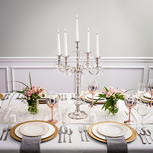 Klikel Traditional 24 Inch Silver Candelabras 5 Candle With Crystal Drops - Classic Elegant Design - Wedding, Dinner Party And Formal Event Centerpiece - Nickel Plated Aluminum, Dangling Acrylic Cryst