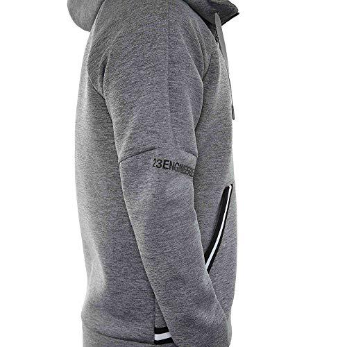 Jordan Nike Sportswear Flight Tech Men's Hoodie (Carbon Heather/White/Black, Medium)