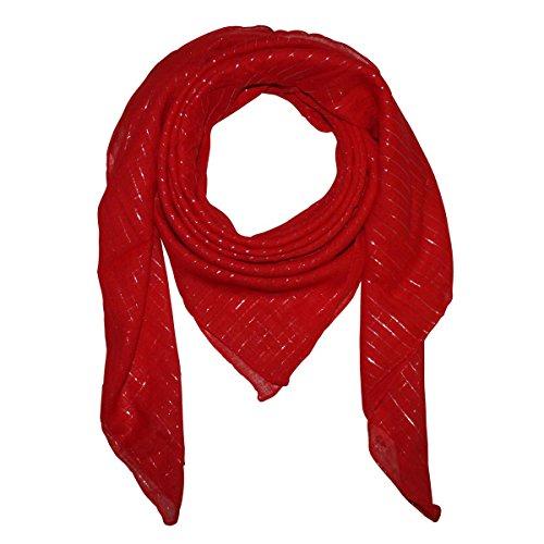 Superfreak® Baumwolltuch mit Silber Lurex - Tuch - Schal - 100x100 cm - 100% Baumwolle Farbe:rot